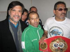Jorge Juri (Asoc.Regional Atlántica de Judo),Luis Lazarte Campeón Mundial de Box -FIB- y el entrenador Fernando Sosa.