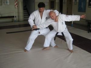 El Prof. Jorge Juri practicando Kimeno Kata con el Prof.Disertante Eduardo Benedetti.