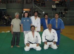 Los Judokas que realizaron la exhibición Morelli,de Salinas ,     ,M.Arrupe y M.Salinas con los Profesores J.Juri y H. García