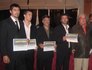 Bazán,Etchechury,Juri,Romano con Robert Lambert periodista especializado en Artes Marciales.