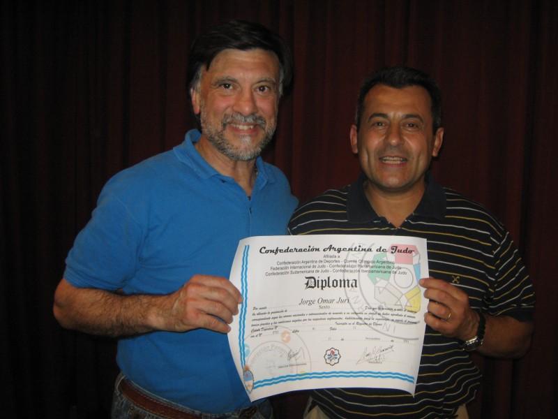 Mtro.6º Dan Jorge Juri con el Mtro.7º Dan Pablo Díaz Soto.