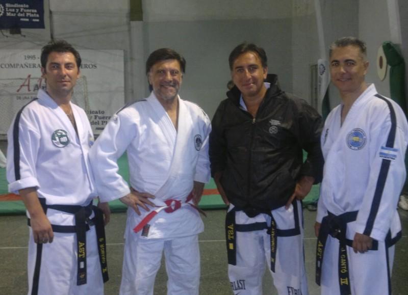 Carlos Romano (TKD),Jorge Juric (Judo),Alejandro Yapuncic (TKD) en Luz y Fuerza de Mar del Plata.