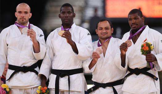 Podio Judo - 81 Kg.  2º S.Ingram(GB) , 1º             (Cuba), 3º J.Lencina (Arg.). 3º    (EEUU)