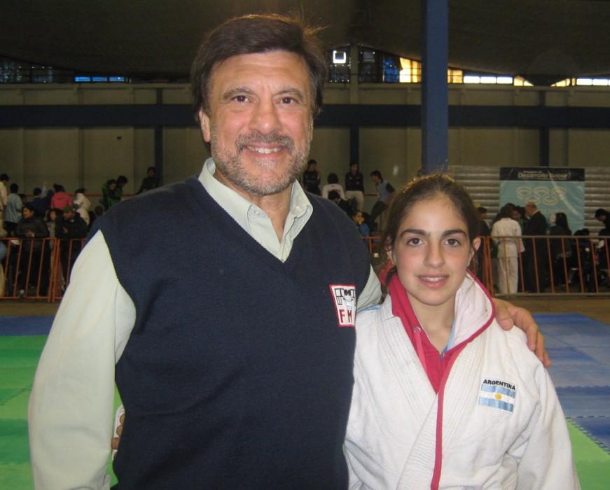 Jorge Juri con Estrella Olmos durante la jornada del Miércoles 6 de Noviembre de los Juegos EVITA.6 de Noviembre