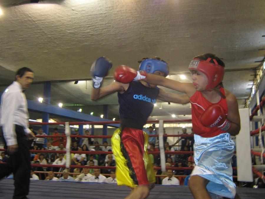 Boxeo en pleno combate.