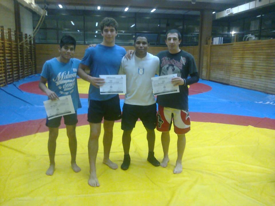 Abel García,Cristian Hormann, Nazaret Wilson , y Pedro Cambiaso en el Curso Nacional de Lucha.